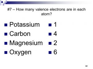 How many Valence Electrons are in Oxygen