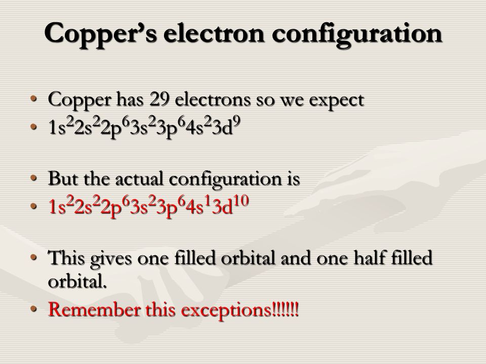 how to find a electron configuration for copper