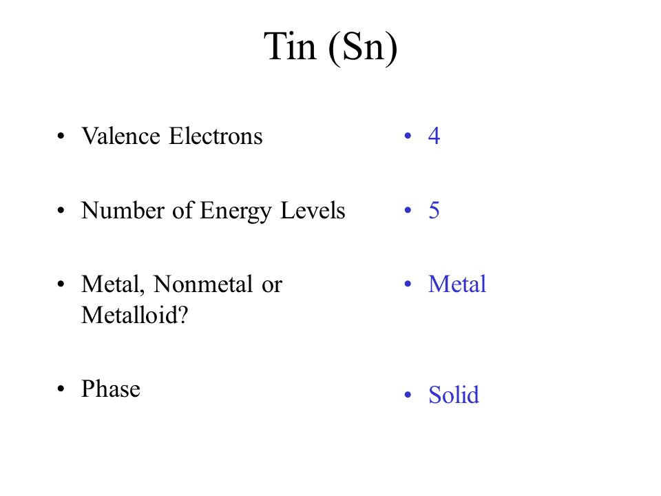 Tin number of Valence Electrons