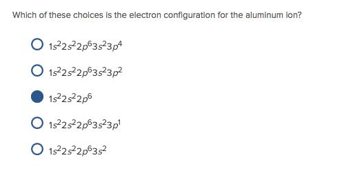 Electron Configuration For Aluminium ion