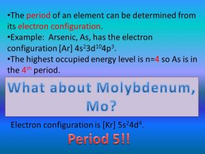 Molybdenum Number of Valence Electrons